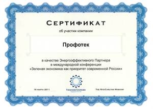 "Certificate of participation as a partner in the international conference ""Green economy as a priority in modern Russia"""