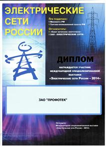 "Diploma for participation in the exhibition ""Electrical networks of Russia"" 2014"